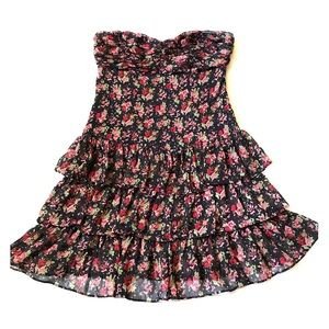 Express floral chiffon strapless tiered dress